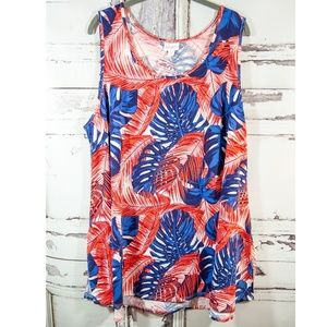 LuLaRoe 3XL Perfect T Blue Red Palm Leaves
